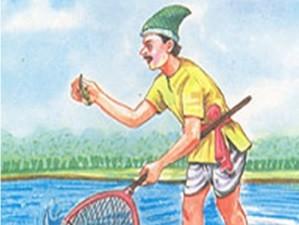 ingilizce resimli hikaye the fisherman and the little fish